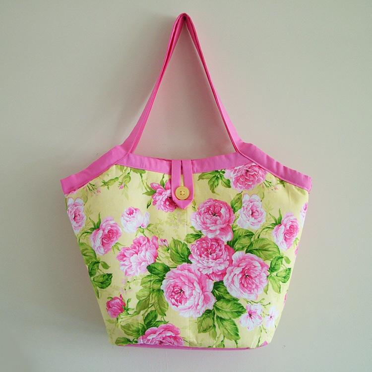 SALE - Handmade Pink Summer Floral Bucket Shoulder Bag